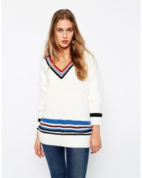 Asos Cricket Sweater With Blocking And Tipping - Lyst