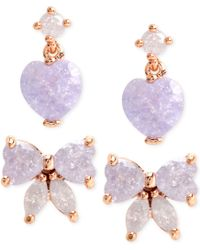 Betsey Johnson Gold-Tone Purple Bow And Heart Stud Earring Set - Lyst