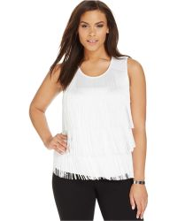 Calvin Klein Plus Size Fringed Tank Top white - Lyst