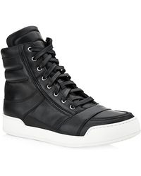 Balmain Leather Hightop Sneakers - Lyst