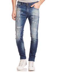 DIESEL | Spender Distressed Skinny Jeans | Lyst