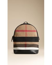 Burberry Canvas Check and Leather Backpack - Lyst