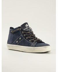 Leather Crown Distressed Midtop Sneakers - Lyst