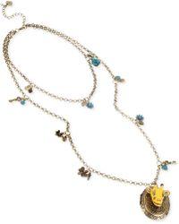 Betsey Johnson Brasstone Giraffe Oval Locket Tworow Long Necklace - Lyst