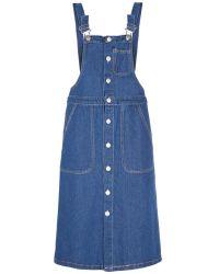 Pixie Market Denim Overall Suspender Midi Dress blue - Lyst