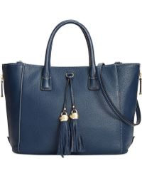 Lauren By Ralph Lauren Newbury Double Zip Satchel In Blue
