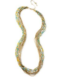 Kenneth Cole New York Gold-Tone Mixed Multicolored Bead Layered Long Necklace - Lyst