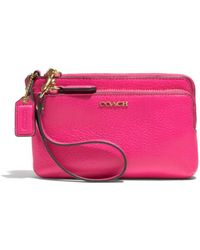 Coach Madison Double Lzip Wristlet In Leather - Lyst