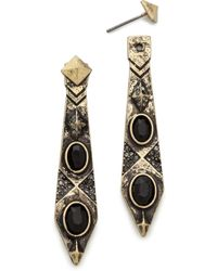 House Of Harlow Gypsy Feather Earrings Goldblack - Lyst