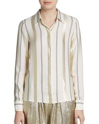 Stella McCartney Striped Silkblend Blouse - Lyst