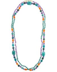 Pink Powder - Turquoise & Purple Agate Beaded Necklace - Lyst