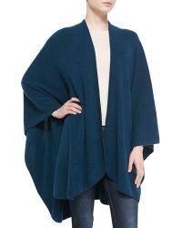 Sofia Cashmere Cashmere Rib Knit-Trim U-Cape blue - Lyst