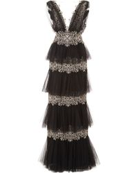 Marchesa Tiered Tulle Gown - Lyst