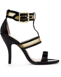 Vivienne Westwood Marilyn Black and Gold Single Sole Heeled Sandals - Lyst