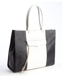 Rebecca Minkoff Black and White Leather Mab Top Handle Tote - Lyst