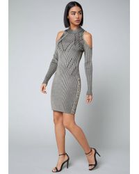 Bebe - Cold Shoulder Sweater Dress - Lyst