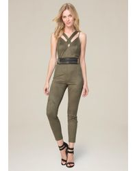 Bebe | Strappy Faux Suede Jumpsuit | Lyst