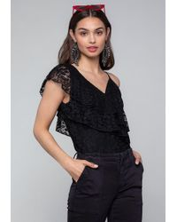 e0d7e10bcc Lyst - Bebe Ribbed Bandeau Top in Black