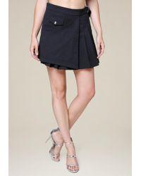 Bebe - Pleated Mock Wrap Miniskirt - Lyst