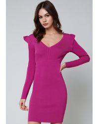 Bebe - Ruffle Detail V-neck Dress - Lyst