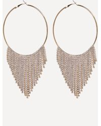 Bebe - Fringe Hoop Earrings - Lyst