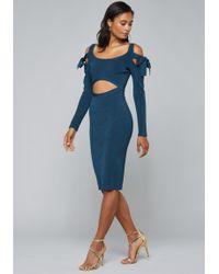 Bebe - Tie Bow Cold Shoulder Dress - Lyst