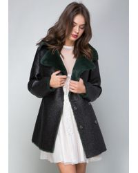 Bebe - Tessa Faux Fur Collar Coat - Lyst