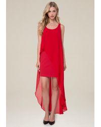 Bebe | Hi-lo Overlay Dress | Lyst