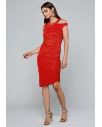Bebe - Shirred Cutout Dress - Lyst