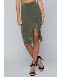 Bebe - Lace Trim Ribbed Skirt - Lyst