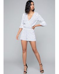Bebe - Striped Romper - Lyst