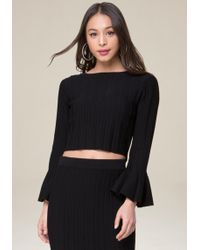 Bebe - Flare Sleeve Crop Sweater - Lyst