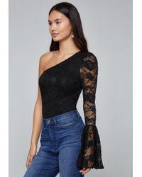 Bebe - Lace One Shoulder Bodysuit - Lyst