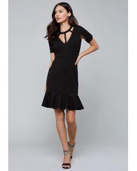 Bebe - Lattice Detail Flared Dress - Lyst