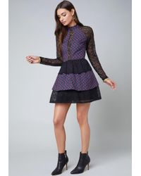 Bebe - Lace Tiered Ruffle Dress - Lyst