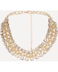 Bebe - Crystal Chain Necklace - Lyst