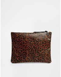 Falconwright Leather Clutch Leopard Print - Lyst