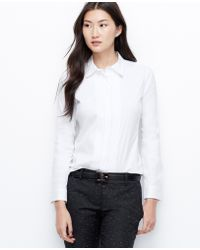 Ann Taylor Pintucked Perfect Shirt - Lyst