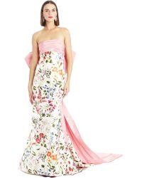 Oscar de la Renta English Garden Mikado Bow-Back Gown - Lyst