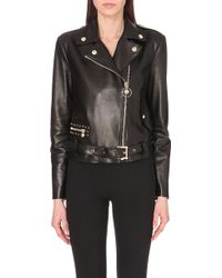 Versace Leather Jacket - For Women - Lyst
