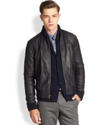 Billy Reid Macon Leather & Cotton Jacket - Lyst