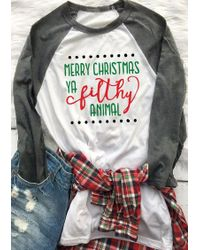 a1c68f6a Belle lily Christmas Letter Printed Splicing Elbow Patch T-shirt in ...