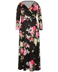180f89dcd7c Belle lily Plus Size Striped Splicing Wrap V-neck Maxi Dress in Blue ...