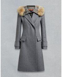 Belstaff - Firdale Fur Trim Long Coat - Lyst