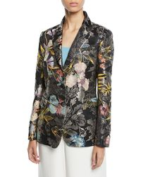 Etro - Metallic Floral-jacquard Two-button Blazer - Lyst