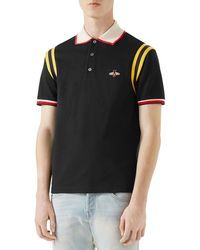 ff3ec9e6c Gucci Bee And Star-embroidered Cotton Polo Shirt in Black for Men - Lyst