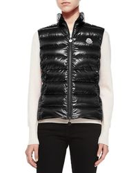 Moncler | Ghany Water Resistant Shiny Nylon Down Puffer Vest | Lyst