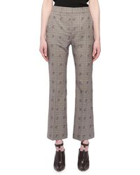 Altuzarra - Flared-leg Cropped Check Floral-print Wool-blend Pants - Lyst