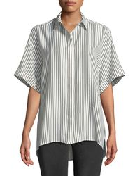 Jason Wu - Striped Half-sleeve Button-front Blouse - Lyst