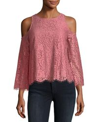 Joie | Abay Lace Cold-shoulder Top | Lyst